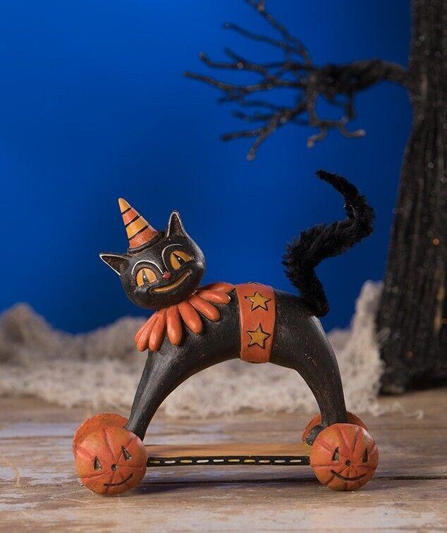 Bethany Lowe Gomez on the Go Black Cat on Wheels Halloween Figure Johanna Parker