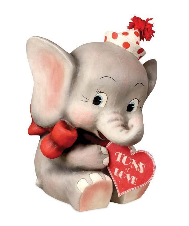 Bethany Lowe - Tons of Love, Ellie Valentine Elephant - Love Paper Maché TJ6206