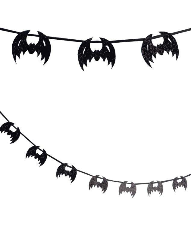 Bethany Lowe Bat Garland Black Glitter Vintage Halloween