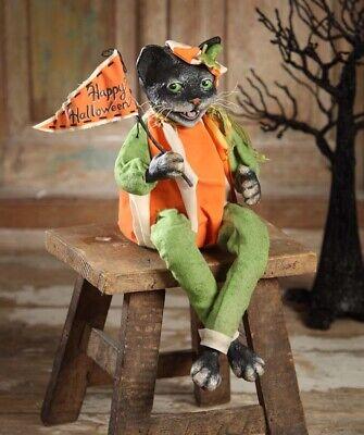 VL4899 Pumpkin Cat Trick or Treater Bethany Lowe Happy Halloween Figurine