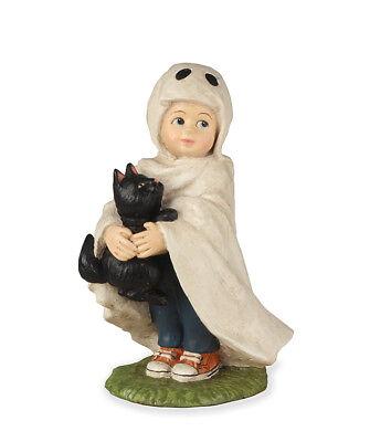 Halloween Little Ghost Jack Boy with Black Cat Figurine Bethany Lowe New