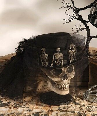 Halloween Black SKELETON RIDING HAT Women's Lady Costume Bethany Lowe LO0811