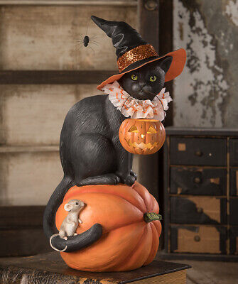 Bethany Lowe Halloween Black Cat Witch On Pumpkin Halloween Mouse FREE SHIPPING