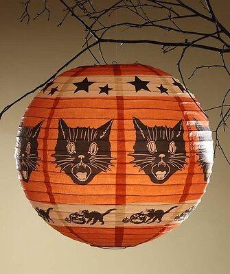 Orange Pumpkin Shape Fraidy Cat Paper Lantern w/Light & Cord Bethany Lowe RL3616