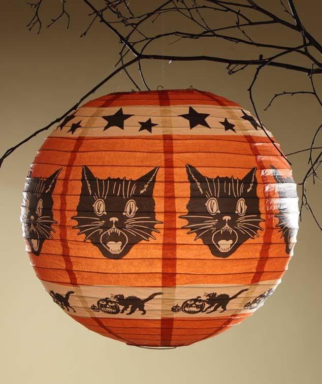 Orange Pumpkin Shape Fraidy Cat Paper Lantern Light & Cord Bethany Lowe RL3616