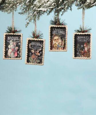"Bethany Lowe Designs Set of 4 ""Christmas Shadowbox Ornaments"" LO5633"