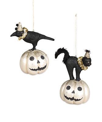 Bethany Lowe ALL HALLOW'S EVE FRIENDS ORNS Black Cat Crow TL9434 Halloween 2 pcs