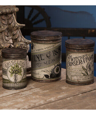 Bethany Lowe WITCHE'S CONSERVATORY TIN CANISTERS TF9143 Halloween SET OF 3