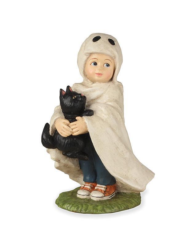 Halloween Ghost Kid - Ghostie Jack with Black Cat  - Bethany Lowe TD7629