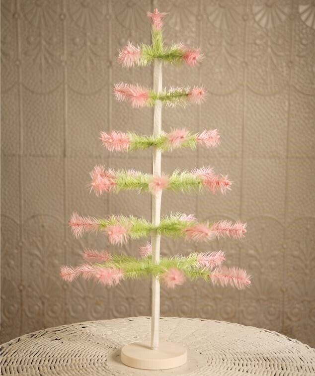 """Bethany Lowe Easter Feather Tree Green with Pink Tips 24"""" Tall Retro Spring"""