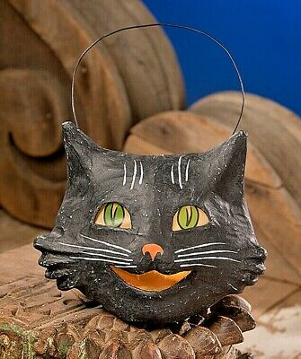 Bethany Lowe Vintage Style Halloween Paper Mache Happy Black Cat Bucket Lantern - Halloween Decorations Paper Mache