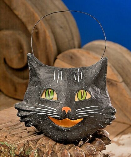 Bethany Lowe Vintage Style Halloween Paper Mache Happy Black Cat Bucket Lantern