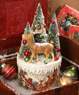 Bethany Lowe Designs Christmas Traditional Vignette Reindeer on Box