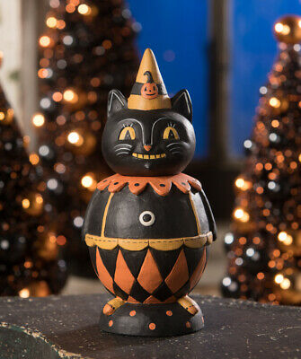 Johanna Parker Halloween Black Cat Jester Jack Jar for Bethany Lowe Designs