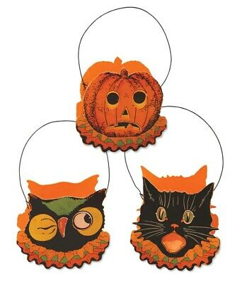 "Bethany Lowe Designs Halloween Set of 3 ""Sassy Cat & Friends Bucket"" LC3671"