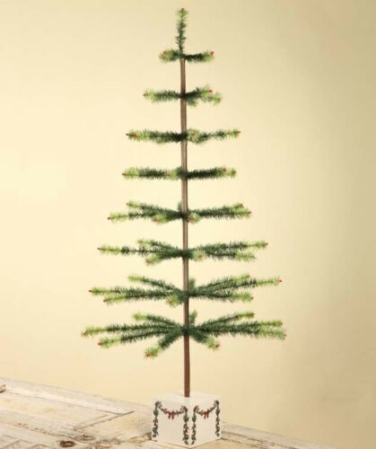 "Bethany Lowe Two Toned Green Goose Feather Tree With Garland Base 50"" Free Ship"