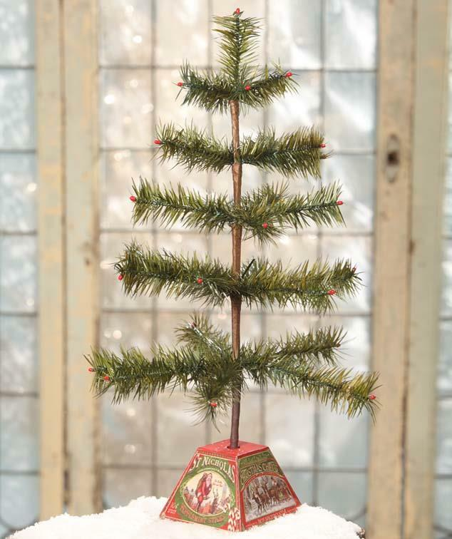 """Bethany Lowe 18"""" Tabletop Feather Green Christmas Tree with Tin Block Base"""