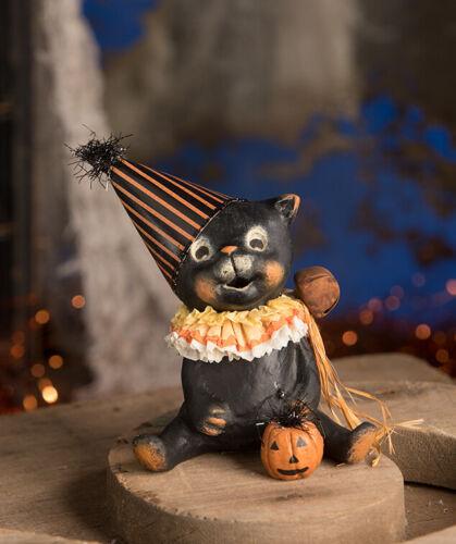 Bethany Lowe Designs Halloween Jinx Black Cat Pumpkin Figurine