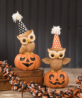 """NEW 2020 Bethany Lowe Designs Halloween Set of 2 """"Party Owl On Pumpkin"""" TL9436"""