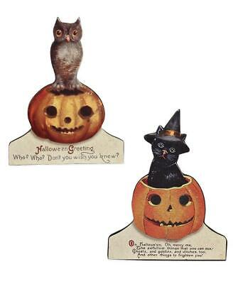 Bethany Lowe Vintage Style Halloween Owl Black Cat Wood Stand-Ups Set of 2