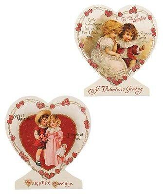 Set of 2 Retro Bethany Lowe Valentine's Day Heart Children Kids Dummy Boards