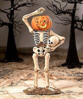Bethany Lowe Whimsical Halloween Pumpkin Bucket Head Skelly Skeleton Decoration