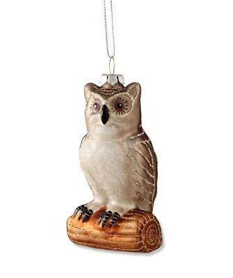 "Bethany Lowe Designs Christmas ""Owl On Twig Ornament"" Glass DA4480"