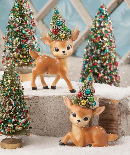 Bethany Lowe Set of 2 Retro Merry & Bright Reindeer TL8751, NWT