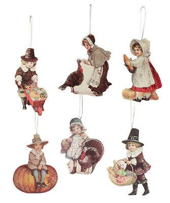 Bethany Lowe Thanksgiving Pilgrim Child Turkey Pumpkin Harvest Ornament Set/6