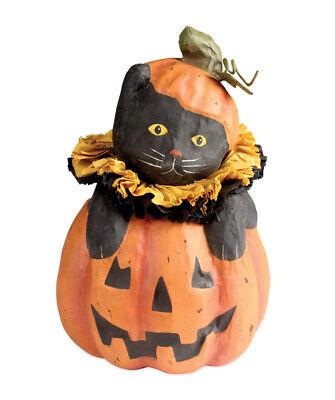 "Bethany Lowe Designs Halloween ""Cat In Jack-O-Lantern"" Small Paper Mache TJ6225"