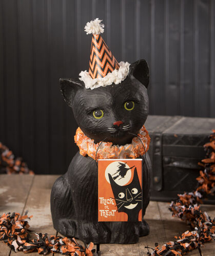 "Bethany Lowe Designs Halloween ""Black Cat Soiree"" Paper Mache TJ9516"