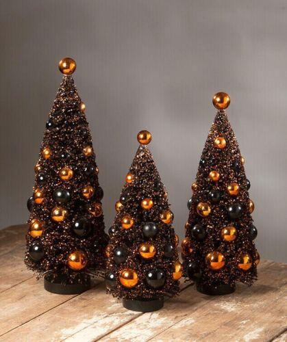 Bethany Lowe Magic Halloween Glitter Bottle Brush Trees ~~ Set of 3 ~~ NEW