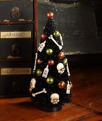 Halloween Skulls And Bones (Halloween Bottles and Bones Bottlebrush Tree Bethany Lowe Skulls Gothic Decor)