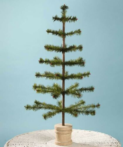 "Bethany Lowe 30"" Olive Green Feather Christmas Tree, Spool Base Free Shipping"