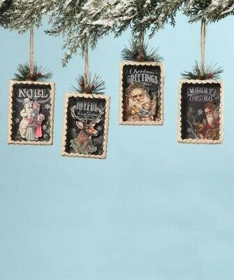 Bethany Lowe Designs Christmas Set of 4 Shadowbox Ornaments Joyful Noel