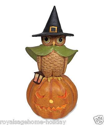 "TJ2407 LARGE 24"" Witchy Owl on Pumpkin Bethany Lowe Halloween Light-Up Figure"
