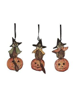Bethany Lowe Halloween Owl Dummy Board Ornament Set of 3