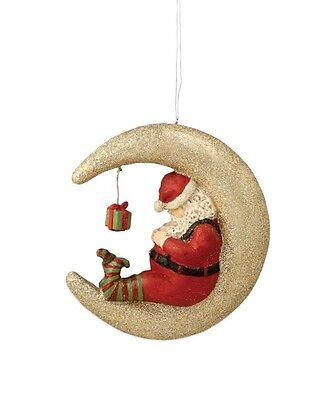 Santa Sleeping on the Moon Ornament - Present - Sleeping - Bethany Lowe TD6106