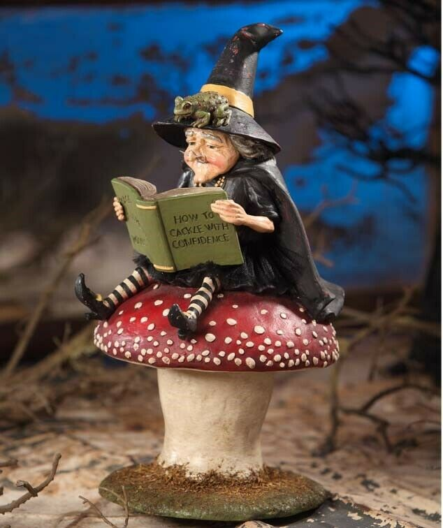 Bethany Lowe How To Cackle with Confidence Halloween Witch on Mushroom Figure