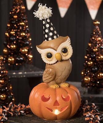 Bethany Lowe PARTY OWL ON PUMPKIN Figure (TL9435)