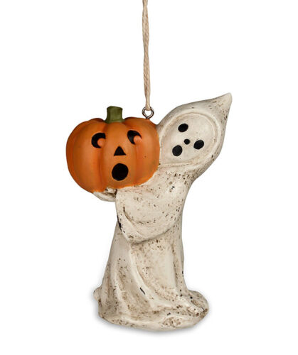 Vintage Halloween Style LITTLE GHOST WITH JOL Pumpkin Ornament
