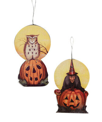 Bethany Lowe Designs Halloween Midnight Witch and Owl Dummy Board Ornament