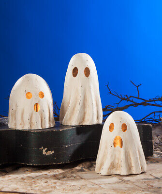 """NEW 2019 Bethany Lowe Designs Halloween Set of 3 """"Ghost Luminary"""" MD TD8652"""