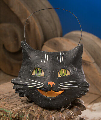 Bethany Lowe Designs Halloween Happy Black Cat Bucket