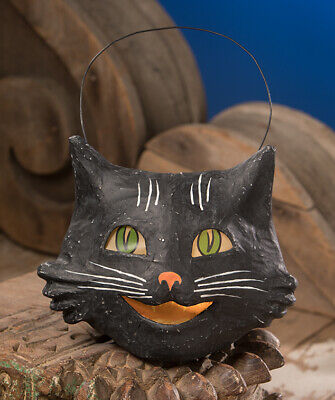 Bethany Lowe Retro Vintage Style Black Happy Cat Bucket Paper Mache FREE SHIP