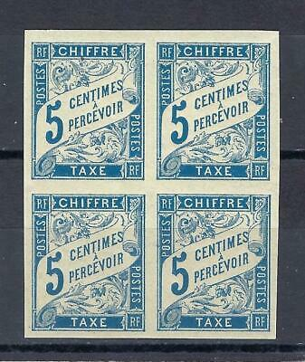 France 1894 French Colonies Sc J15 Imperf Postage Due Block 4 MNH - $3.99