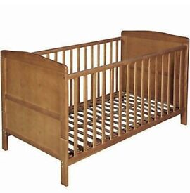 Brand New Unused Marlow Cot Bed Dark Wood and Spring Cotbed Mattress