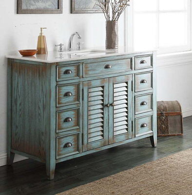 Distressed Style Bathroom Vanity with Faucet Abbeville CF-28885BU-FA Distressed Bathroom Vanities