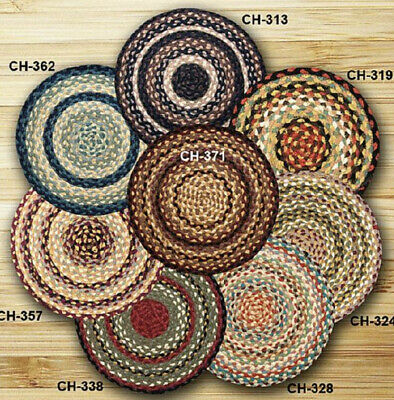 BRAIDED JUTE CHAIR PADS WITH TIES. 15.5