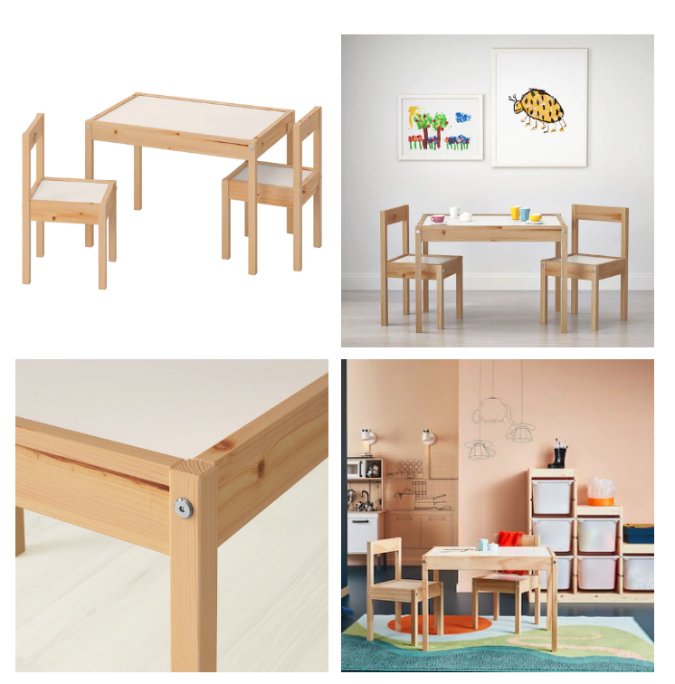 IKEA Lätt Kindertisch mit 2 Stühlen Kinder Stuhl Tisch Set Kindermöbel NEU & OVP